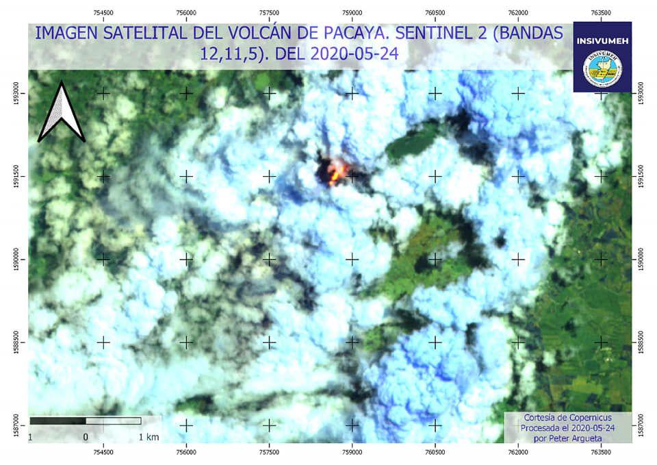 Pacaya - image de la coulée de lave par Sentinel-2  du 24.05.2020- Doc. Insivumeh