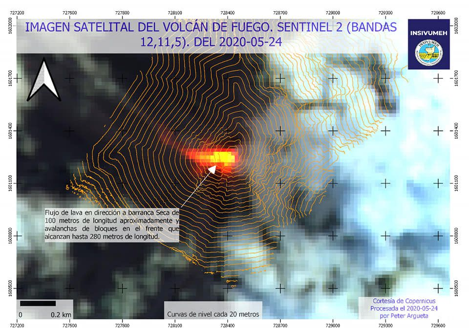 Fuego - image of the lava flow by Sentinel-2 bands 12,11,5 of 24.05.2020- Doc. Insivumeh
