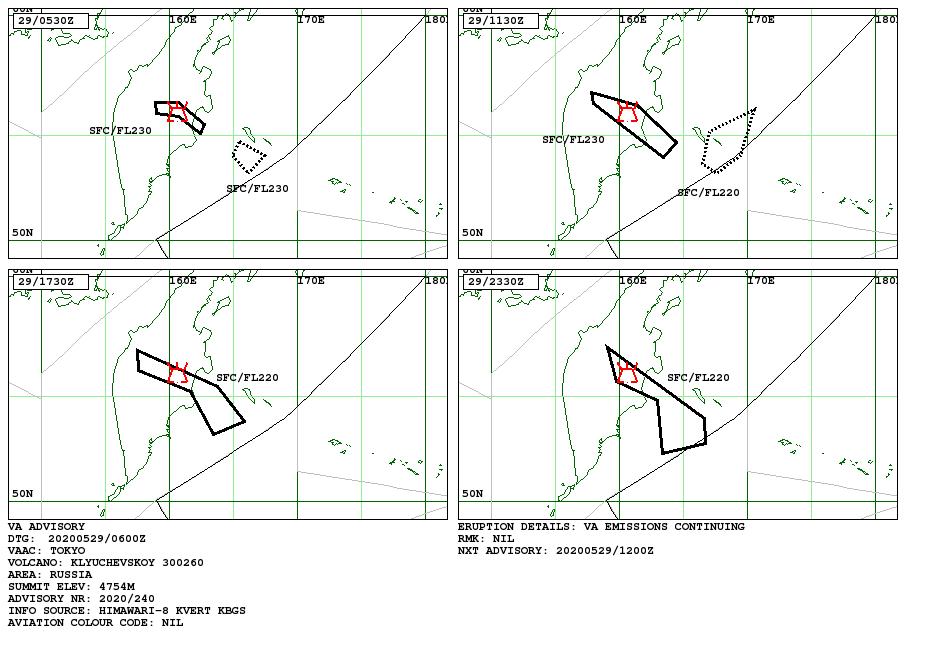 Klyuchevskoy - Volcanic Ash Advisory for 29.05.2020 - Doc. VAAC Tokyo