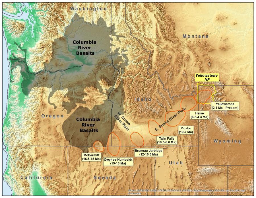 Carte du nord-ouest des USA avec la position des champs volcaniques du point chaud du yellowstone (en orange) et des basaltes de la Columbia river (en gris) – Doc. USGS