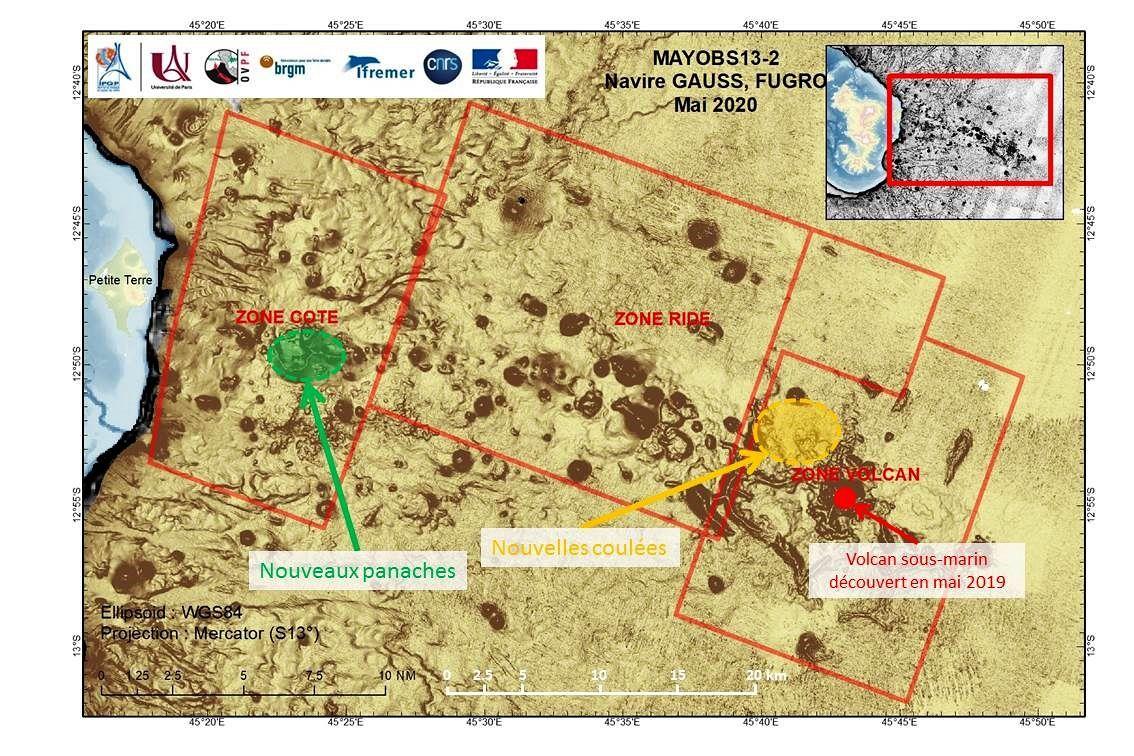 Mayotte - localisation du site du volcan sous-marin, des nouvelles coulées de lave et des nouveaux panaches - Doc . Mayobs 13-2 / via BRGM