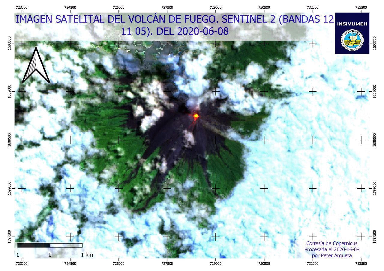 Fuego - block avalanches 08.06.2020 - Sentinel-2 bands 12,11,5 - Doc. Insivumeh