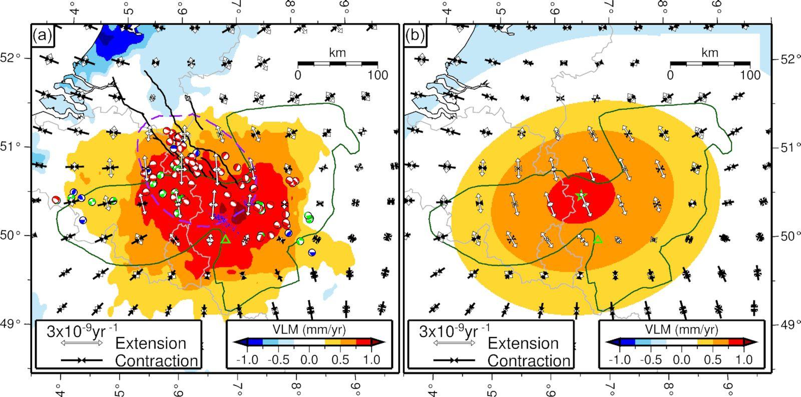 Soulèvement et étirement du sous-sol dans la zone de l'Eifel déterminé par les données GPS. - à noter que la zone étudiée englobe la partie Est de la Belgique, le Grand Duché du Luxembourg et l'Eifel en Allemagne -a) Les couleurs sont imagées VLM corrigées pour le GIA, les vecteurs sont les principaux axes du tenseur de taux de déformation horizontale (moyenné sur des zones égales qui ne se chevauchent pas), la ligne pointillée violette décrit la zone de taux de dilatation significatif (au niveau 2σ). Mécanismes focaux des études régionales (Hinzen 2003; Camelbeeck et al.2007), codés par couleur pour la déformation implicite d'extension (rouge), de contraction (bleu) ou de strike-slip deformation (vert). Les points bleus sont des centres d'activité de l'EVF quaternaire.