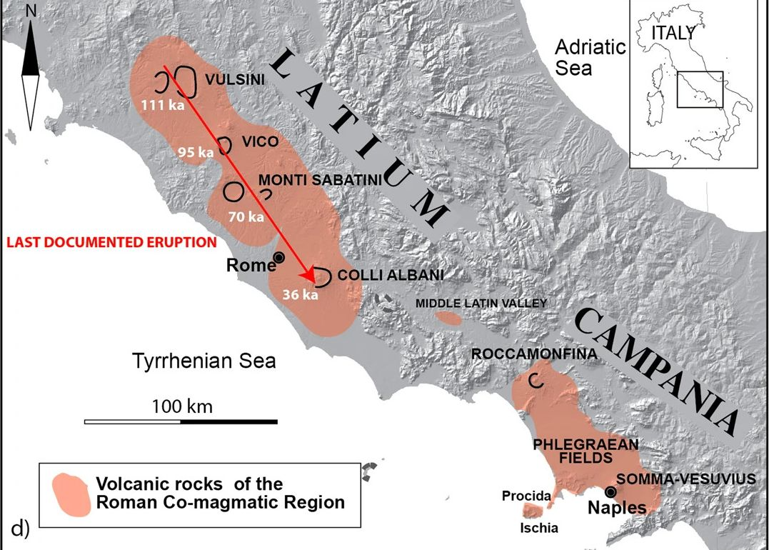 Overview of the quaternary potassium co-magmatic Roman region suggesting a gradual extinction from NW to SE of eruptive activity in the volcanic districts of Lazio (depending on the age constraints available). Digital background elevation map (DEM) used with permission from the Istituto Nazionale di Geofisica e Vulcanologia, Rome.
