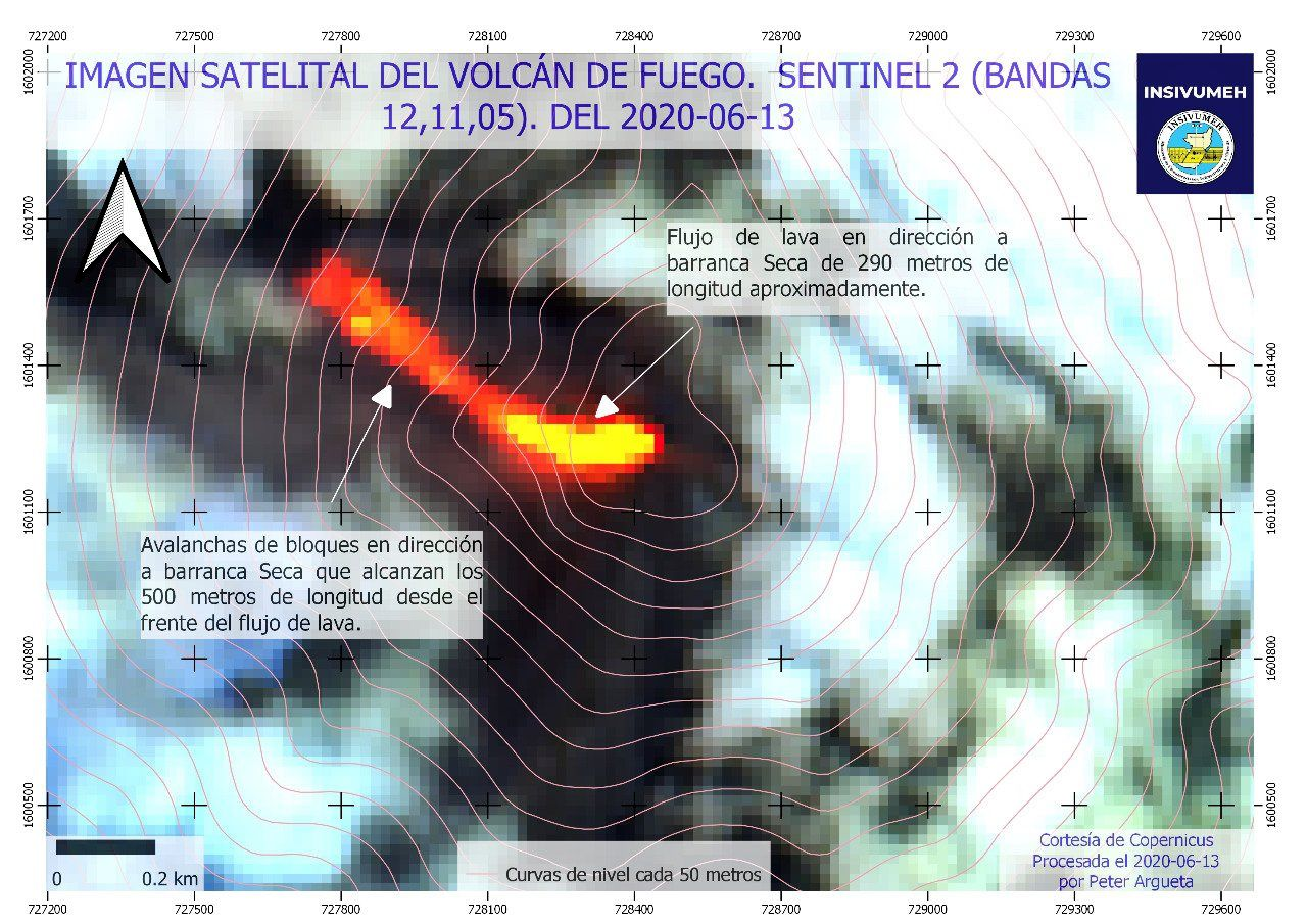 Fuego - lava flow and avalanche of boulders in the Secanca barranca on 13.06.2020 - image Sentinel-2 bands 12,11,5 - Doc. Insivumeh