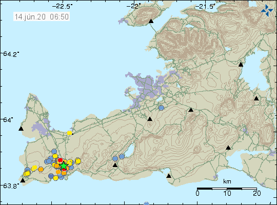 Reykjanes peninsula - location and magnitude of the earthquakes at 14.06.2020 / 6:55 am - Doc. IMO