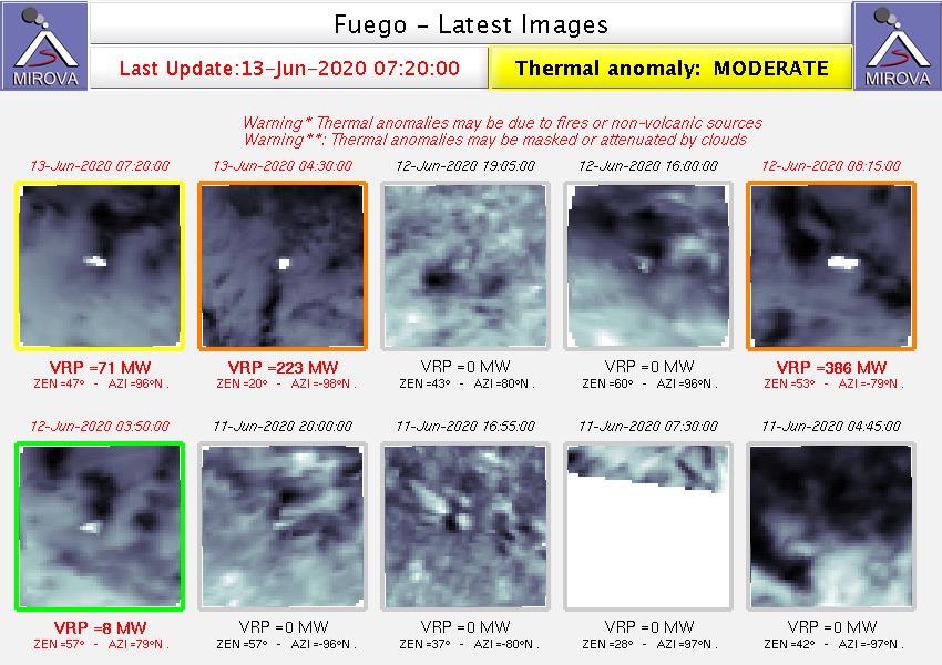 Fuego - thermal anomaly on 13.06.2020 - Doc.   Mirova _MODIS_Latest10NTI