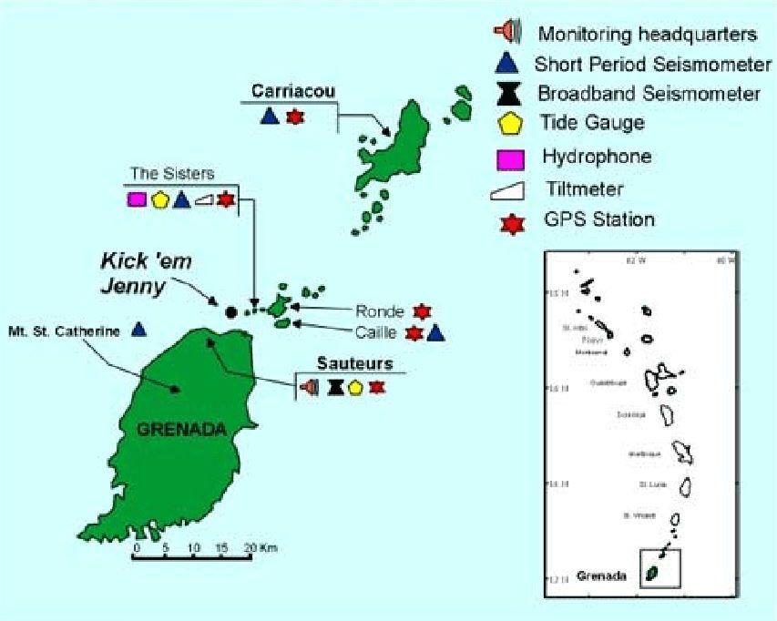 Localisation et position des moyens de surveillance du Kick 'em Jenny dans les Petites Antilles - carte NaDMA