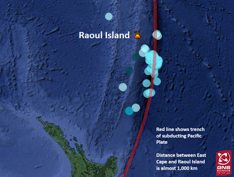 Location of Raoul Island in the Kermadec Islands and earthquakes over M5.0 in the last month (20 May – 20 June 2019). The subduction zone north of New Zealand is visible in red. - Doc. GNS