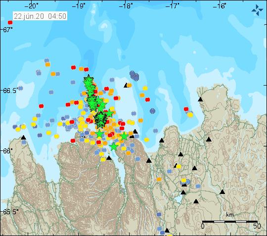 Tjörnes Fracture zone - localisation de l'essaim sismique et magnitude des séismes - Doc. IMO au 22.06.2020