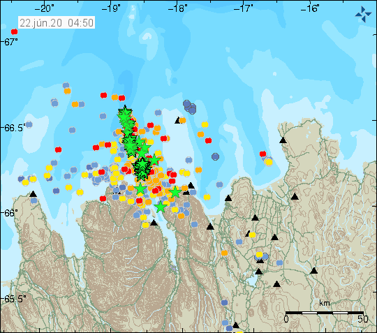 Tjörnes Fracture zone - location of the seismic swarm and magnitude of earthquakes - Doc. IMO on 06.22.2020