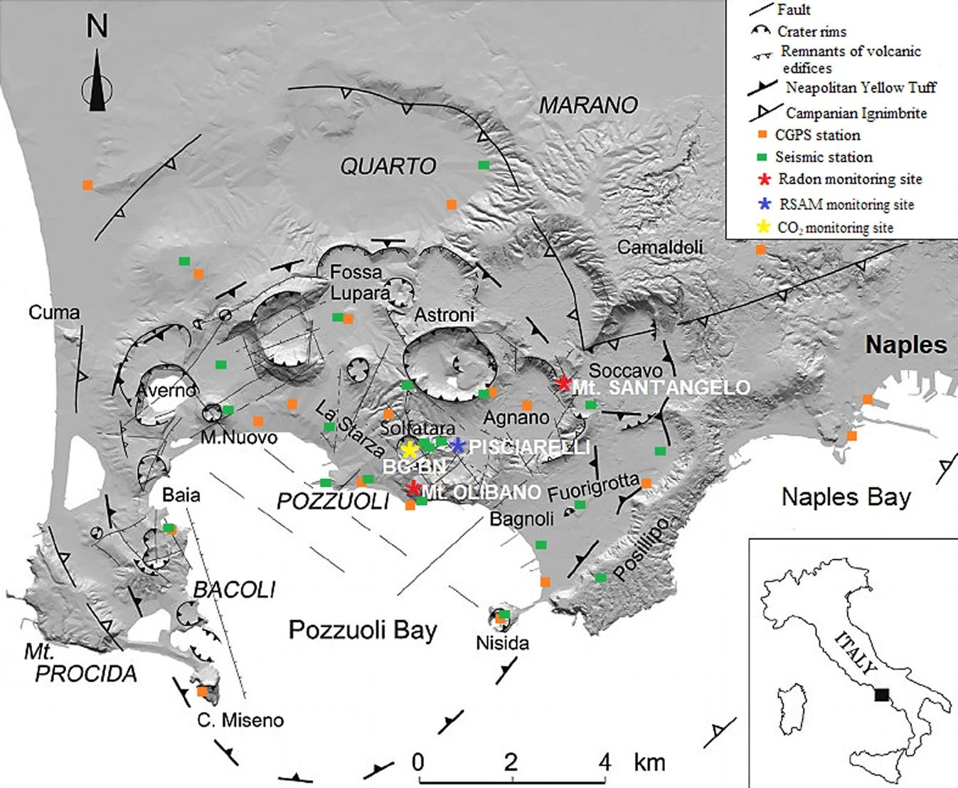 Map of the Campi Flegrei caldera (Naples-Italy). The map, modified after 16 (10.1016 / j.apradiso.2020.109140) using PAINT (Microsoft Corporation, version: 6.1907.18017.0), shows the structural framework of the caldera characterized by tectonics and volcano-tectonic activity . The two radon monitoring sites of Monte Olibano and Monte Sant'Angelo, and the other monitoring sites for geochemical and geophysical parameters are reported. The squares represent the Campi Flegrei seismic network in green and the NeVoCGPS network in orange
