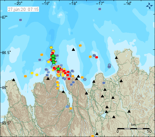 Tjörnes FZ - location and magnitude of earthquakes at 27.06.2020 / 07:15 - Doc. IMO