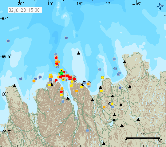 Tjörnes FZ - location of earthquakes and magnitude on 02.07.2020 / 3.30 p.m. - Doc. IMO