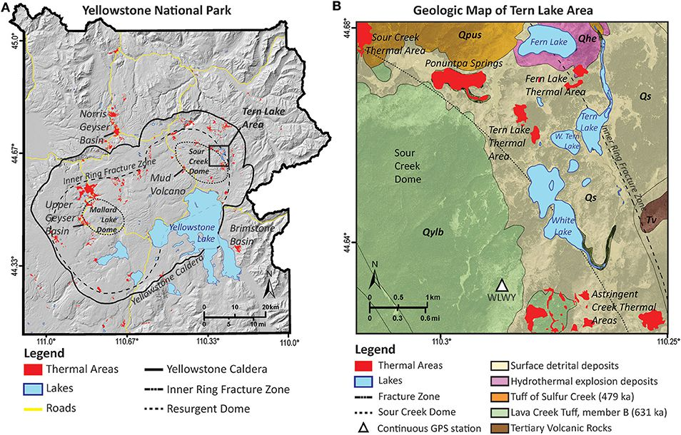 Yellowstone national Park - location and simplified geological map of the new spa area (modified from Christiansen, 2001) - Doc. USGS - one click to enlarge