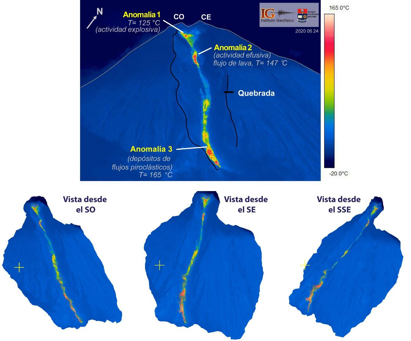 Sangay - Upper: Thermal image of the south-eastern flank of the Sangay volcano, area with the highest temperature: yellow-red-white and area with the lowest temperature: dark blue. The escarpment of the ravine formed during this eruptive phase (black line) is shown, which shelters thermal anomalies linked to explosive activity, effusion and pyroclastic deposits. Bottom: thermal image mosaics of the gorge on the southeast flank with three views, from left to right: southwest, southeast and east-southeast. - Thermal image and mosaics: S Vallejo Vargas, IG EPN.