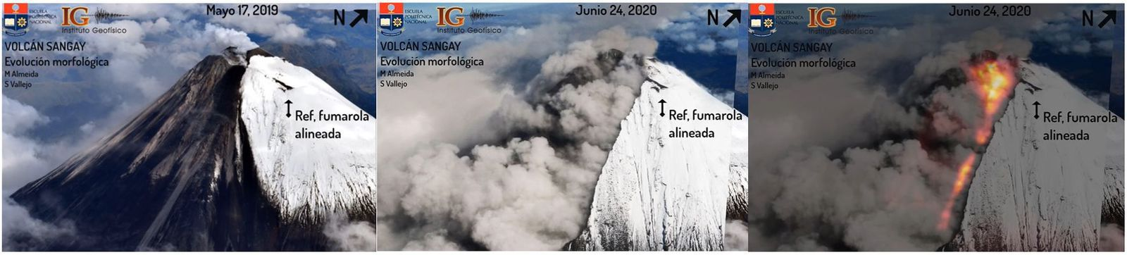 Sangay - Aerial and thermal photographic sequence of the southern flank of the Sangay volcano for the dates May 17, 2019 (left: visible image) and June 24, 2020 (medium: visible image, right: visible-thermal overlay) showing the morphological changes on this flank, associated with the formation of a ravine on the southeast flank and the modification of the summit. - Photos / Thermal image: M Almeida, IG EPN. - one click to enlarge