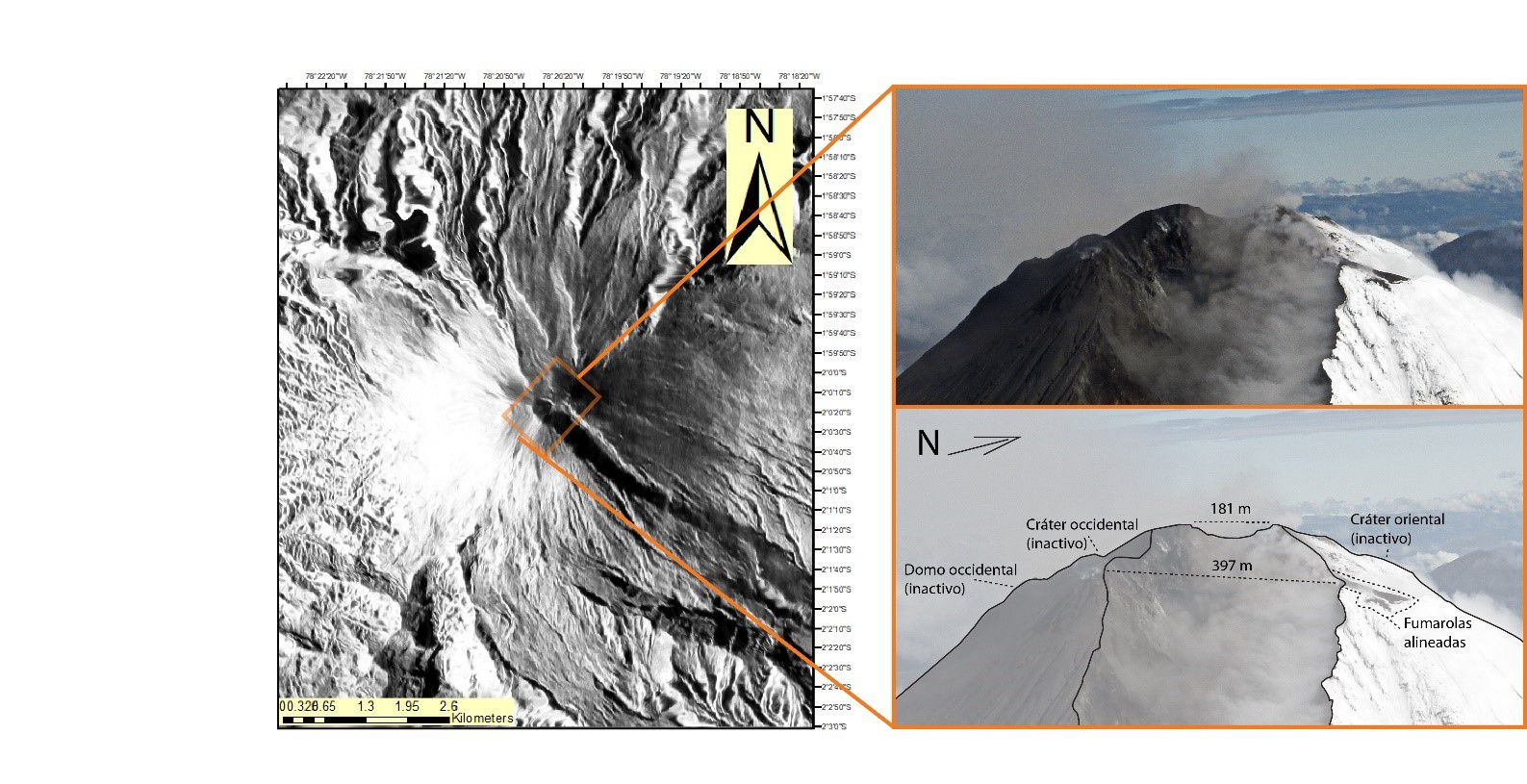 Sangay - Approach to the summit of the Sangay volcano, with an illustration which highlights its new morphological characteristics. - Photo: M Almeida, IG EPN.