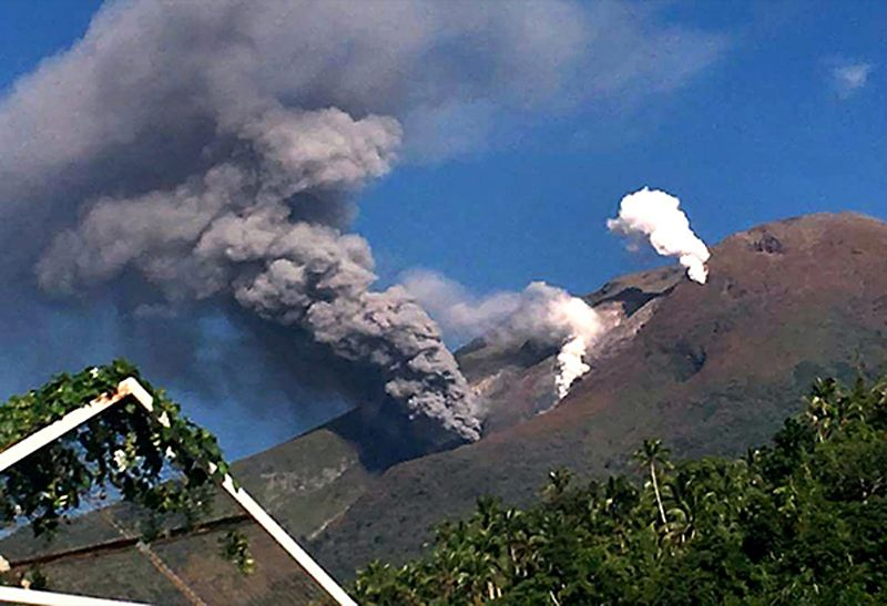 An explosion of  ash from the Bulusan SE vent on October 17, 2016 lasted 24 minutes. White plumes of vapor can be seen rising from other vents. - Photo by Drew Zuñiga, published in The Philippine Star / via GVP