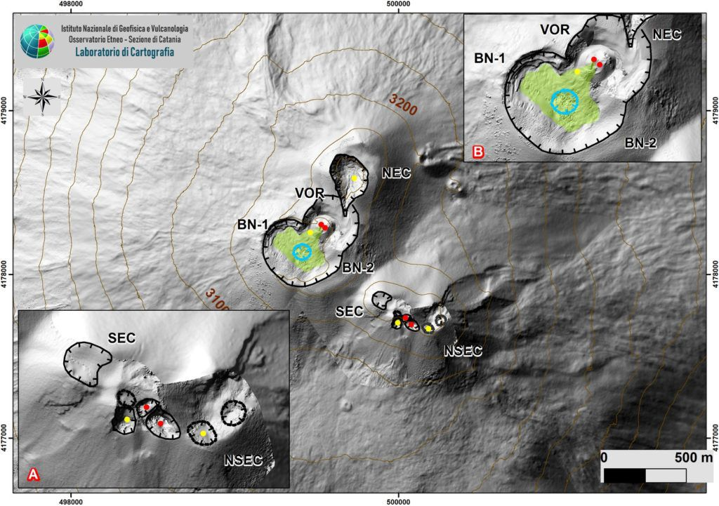 Map of the summit area of Etna updated on May 9, 2020 by the group of drones INGV-OE on the DEM 2014, developed by the Laboratory of Aerogeophysics-Rome Section 2. Details of the SEC-NSEC system are shown (A) and BN and VOR craters (B). The indented blue line indicates a depression within the Bocca Nuova. The yellow circles indicate gas vents; the red circles indicate active mouths. The green polygon defines the cooling flow. - Doc. INGV-OE