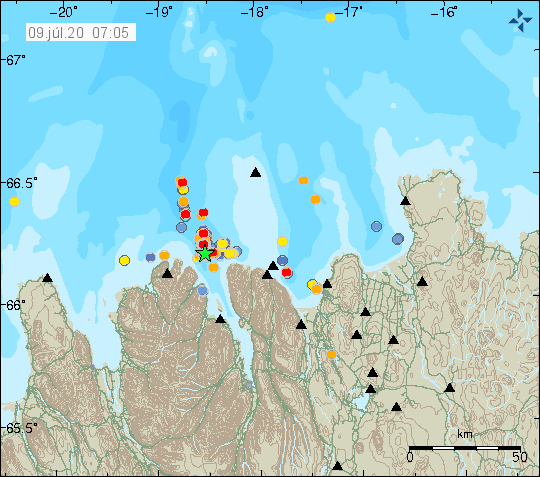 Tjörnes FZ - location and magnitude of earthquakes as of 09.07.2020 / 07h05 - Doc. IMO