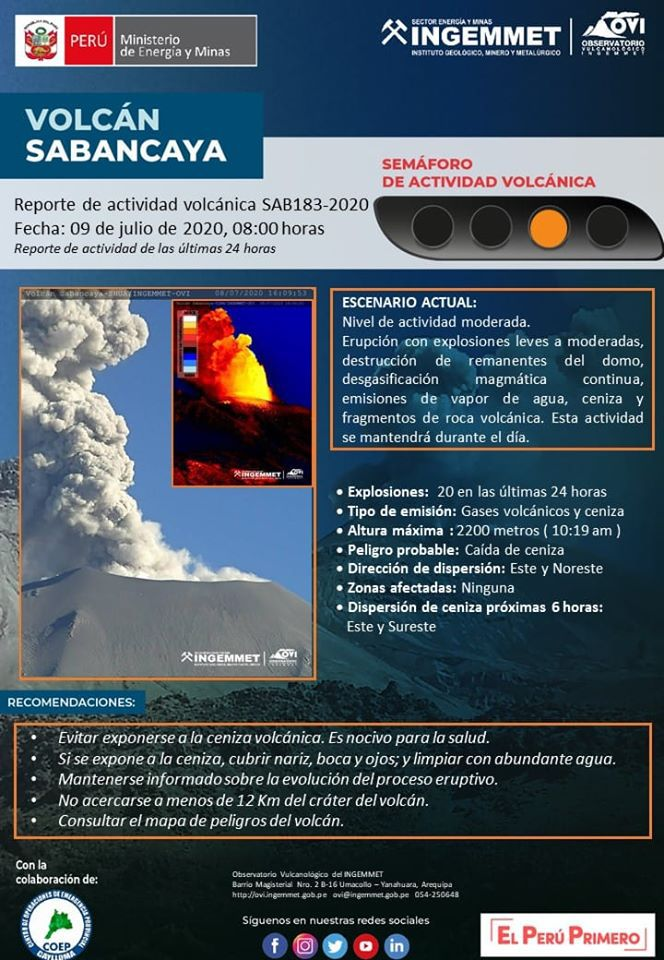 Sabancaya - last Ingemmet / IGP report issued on 09.07.2020 / 8h (before the ash dispersion notice)