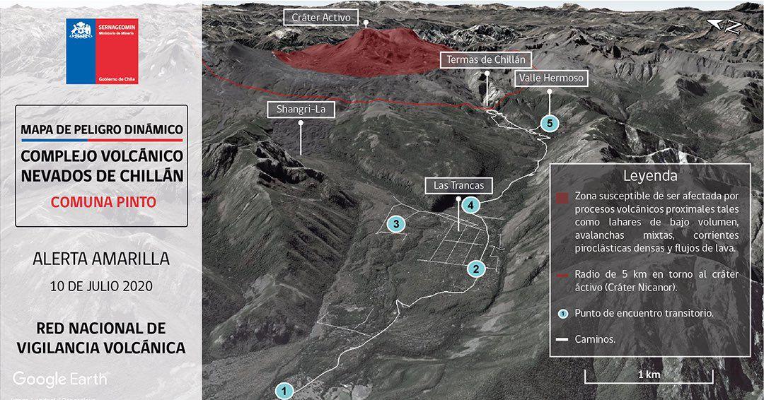 Complexe Nevados de Chillan - nouvelles cartes de danger ciblées sur les zones de Pinto et de Coihueco et Fabian de Alico - Doc. Sernageomin 10.07.2020