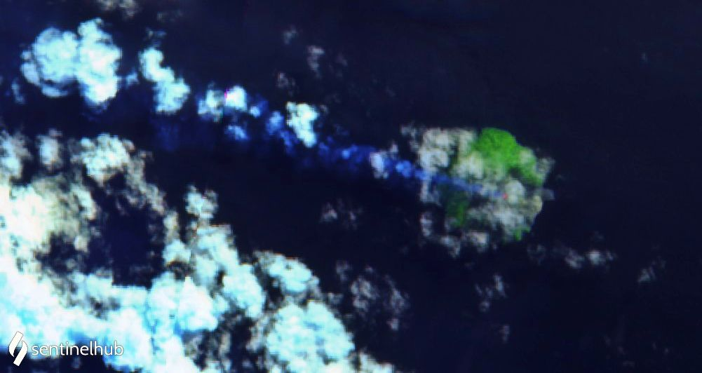 Kadovar - hot spots at the top of the island, respectively from top to bottom on 28.06, 03.07 and 08.07.2020 - one click to enlarge
