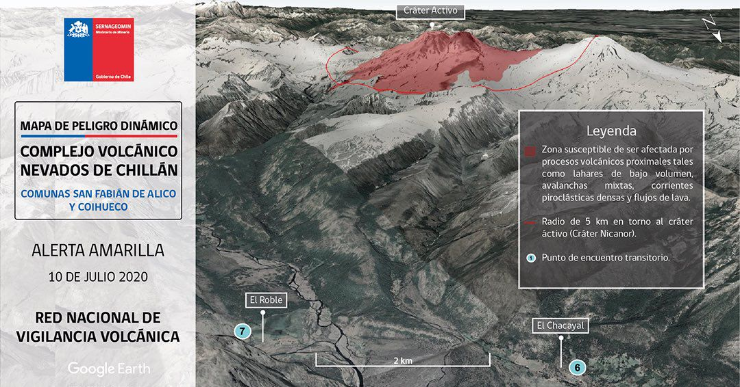 Nevados de Chillan complex - new danger maps targeted on the Pinto and Coihueco and Fabian de Alico areas - Doc. Sernageomin 10.07.2020