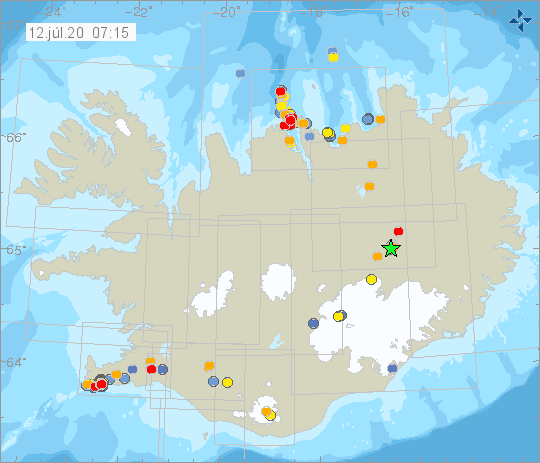 Iceland - earthquakes at 12.07.2020 / 07:15 a.m. - IMO