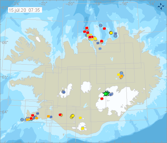 Iceland - earthquakes at 15.017.2020 / 07.35 am - Doc. IMO
