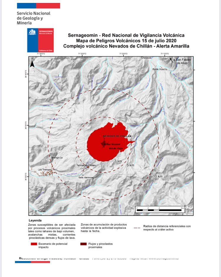 Nevados de chillan - new risk map as of 15.07.2020 - Doc. Sernageomin