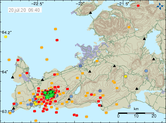 Reykjanes Peninsula - location and magnitude of earthquakes on July 20, 2020 / 06:40 a.m. - IMO doc