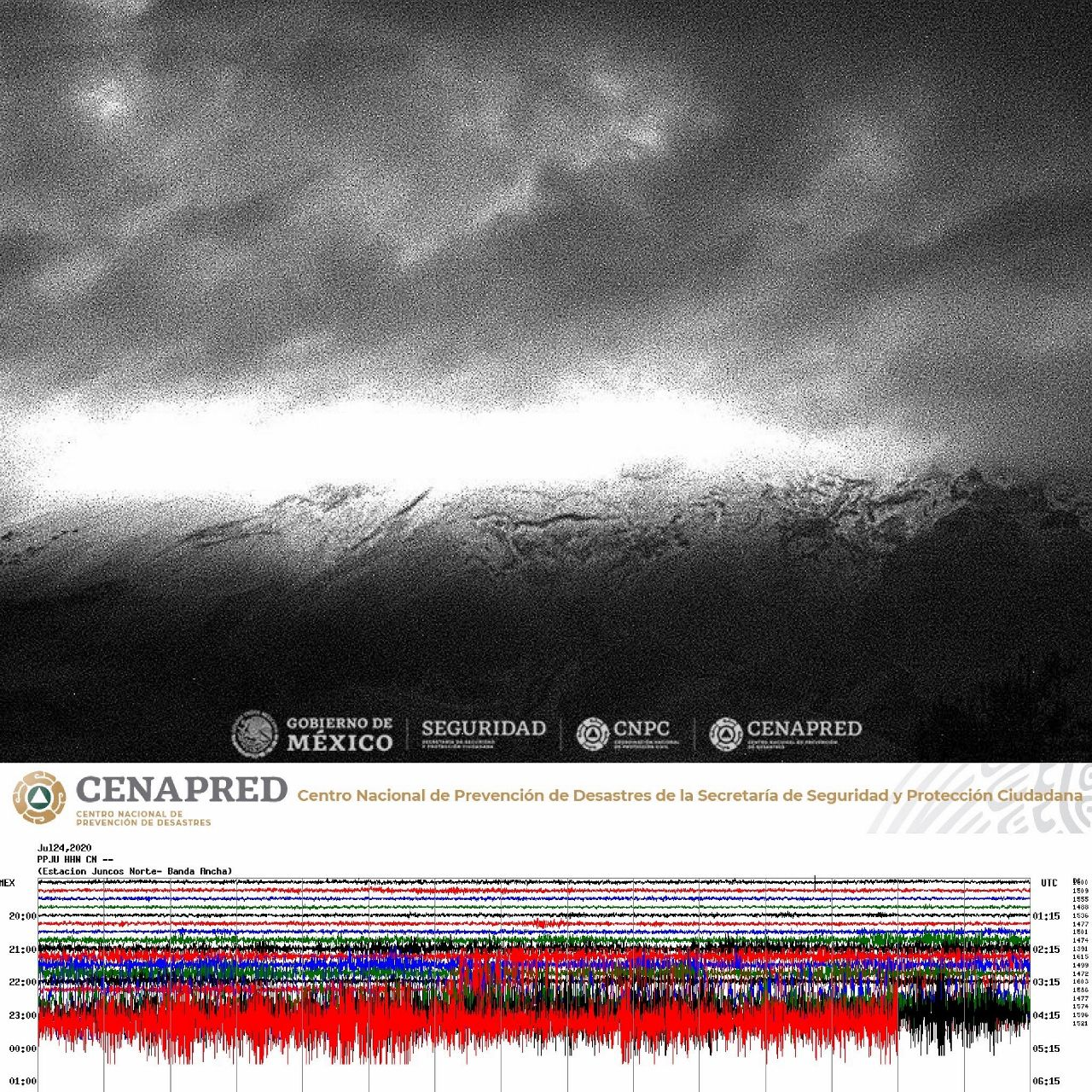 Popocatépetl - 24.07.2020 - rise of the tremor and glow at the top hidden by the rains - Doc. Cenapred