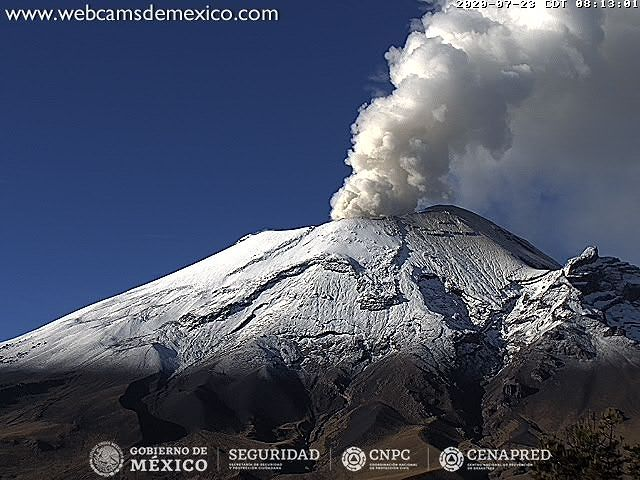 Popocatépetl - activity of 23.07.2020 / 08:13 - Doc. Cenapred