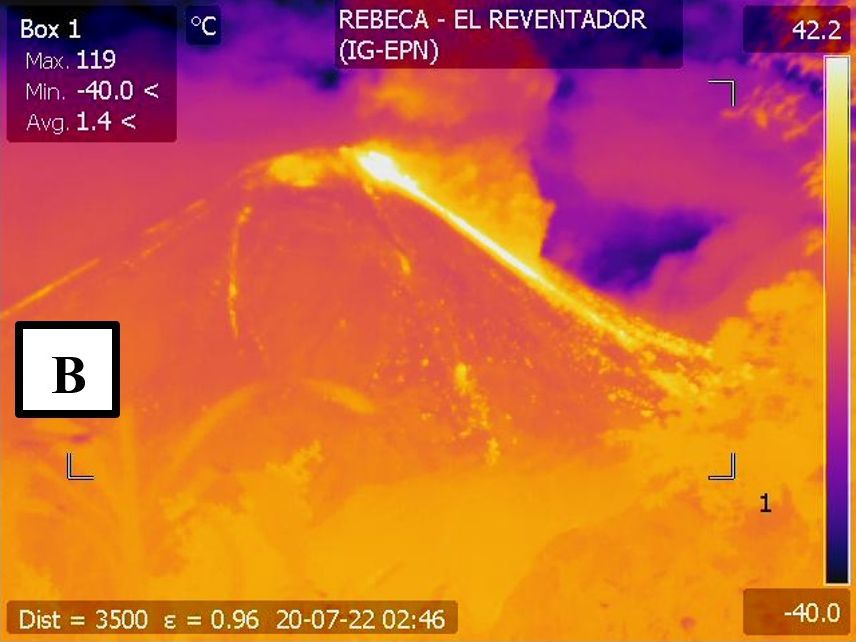 El Reventador - 07.22.2020 / 02:46 UTC - IR image of the pyroclastic flow - Doc. IGEPN