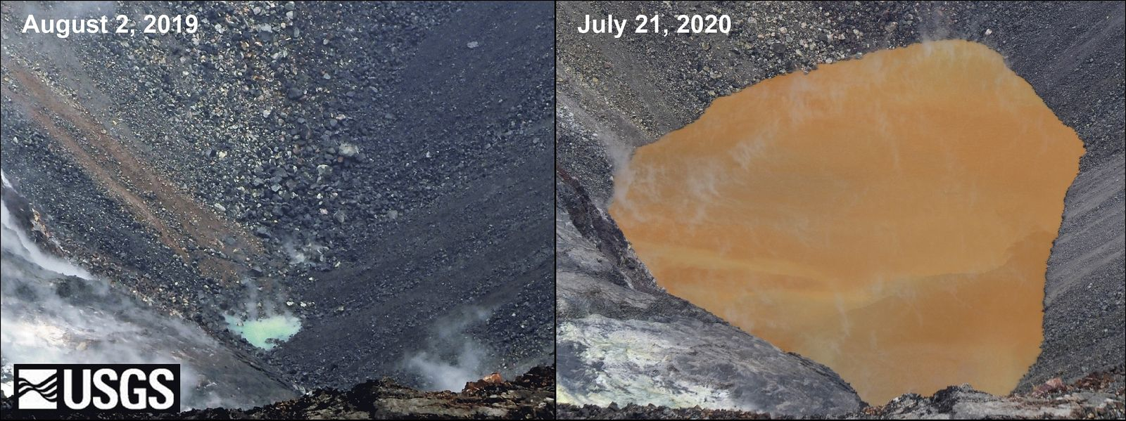 Kilauea - Halama'uma'u- crater lake level and surface variations on August 2, 2019, shows a small green pond about 2m deep, left image. The image on the right, taken on July 21, 2020, shows a lake over 40m deep with bronze to brown undertones and a sharp color border often intersecting the lake. - photo USGS / HVO - one click to enlarge