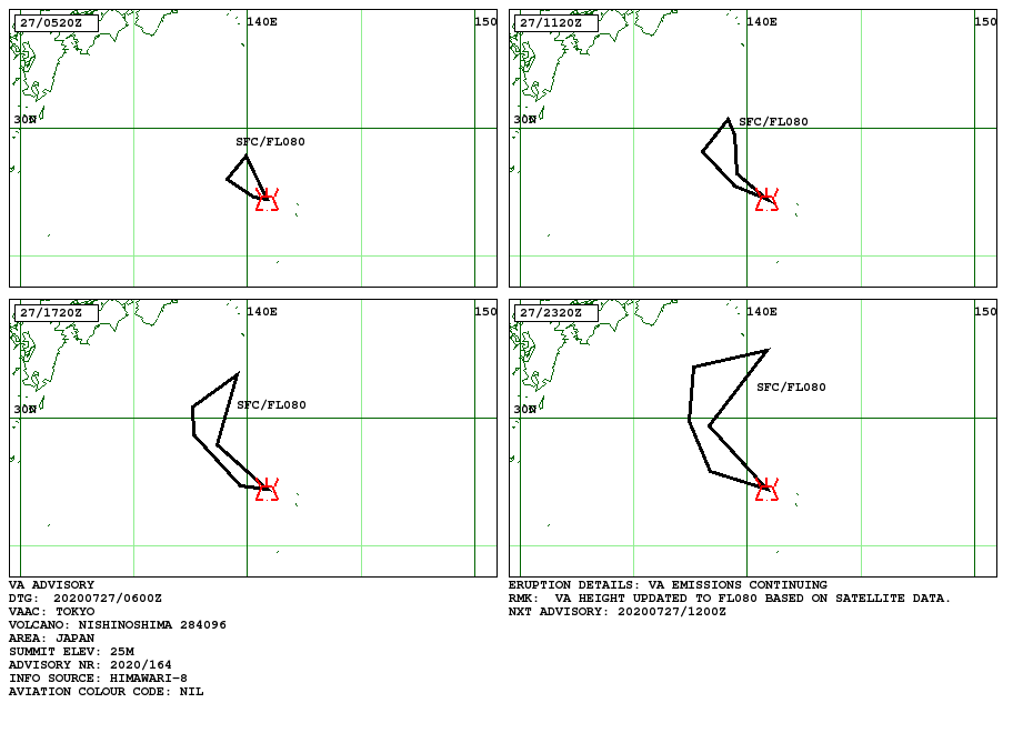 Nishinoshima - Volcanic ash advisory pour le 27.07.2020 - Doc. VAAC Tokyo