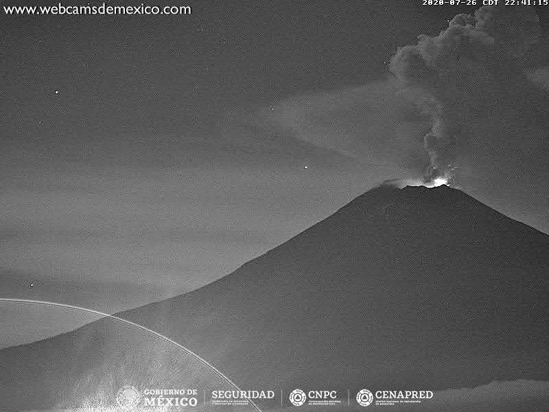 Popocatépetl - activity of 07/26/2020 / 10:41 p.m. - Doc. Webcamsfrom Mexico