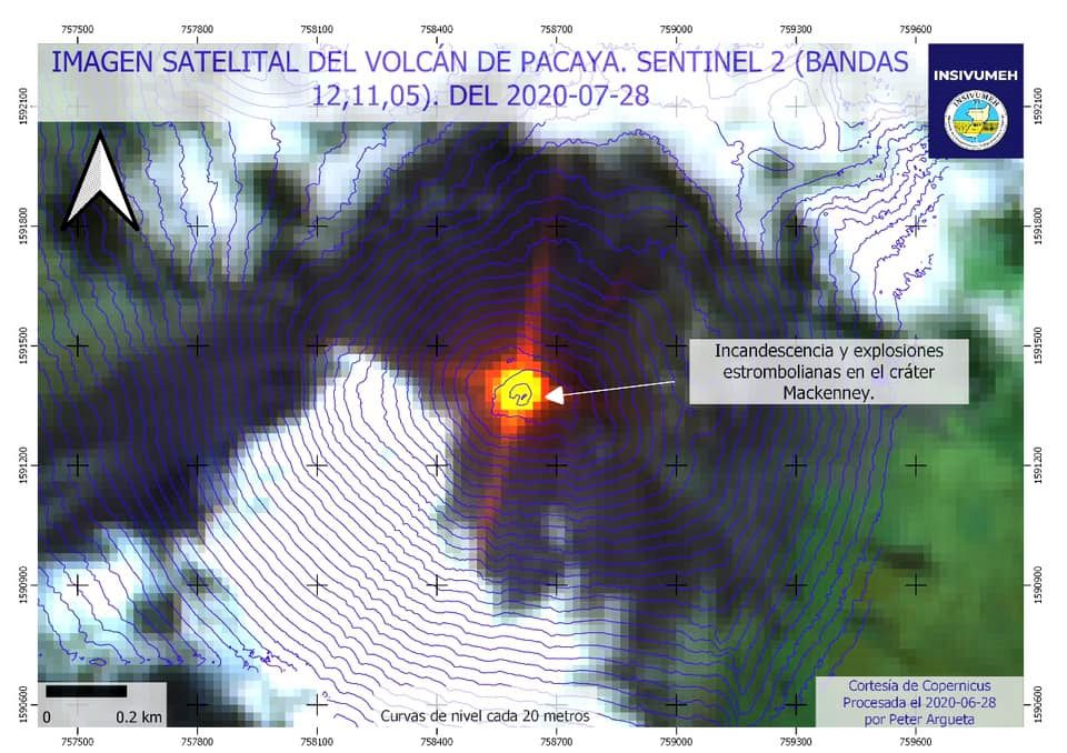 Pacaya - incandescence and strombolian explosions on 07/28/2020 - image Sentinel-2 bands 12,11,5 / Insivumeh