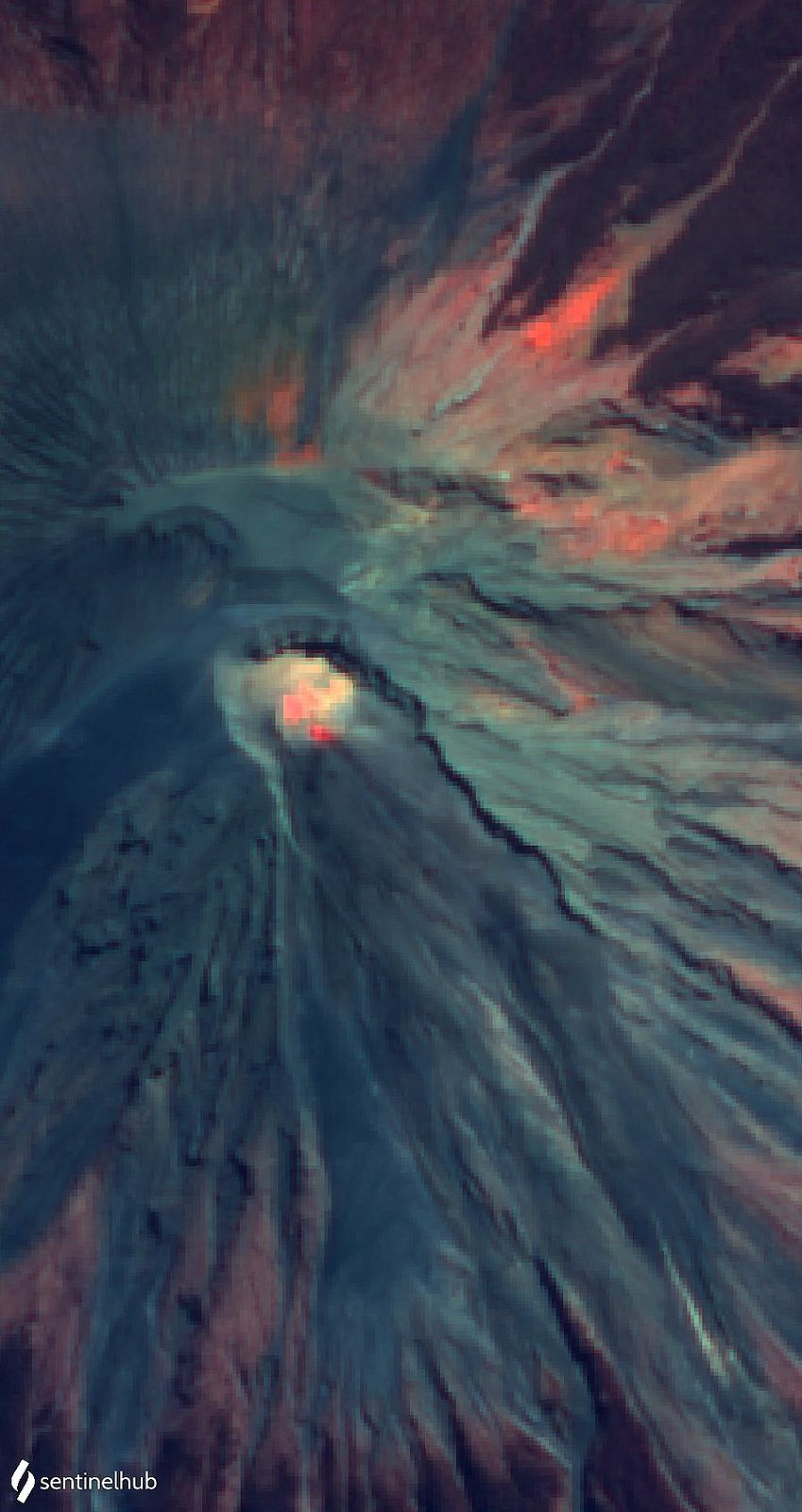 Semeru - photo du satellite Citra le 29.07.2020 montrant les points chauds  - Doc. Magma Indonesia