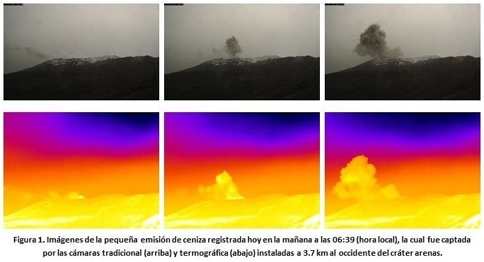 Nevado del Ruiz - emission of gas and ashes do 07/30/2020 / 6:39 a.m. local - SGC taditional and thermal webcam at 3, 7 km west of the Arenas crater.- Doc. SGC