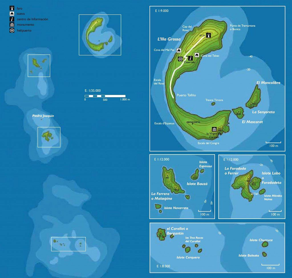Columbretes Archipelago - the different island groups: insets on the right, top: Grande island group (or Grossa island) 14.30 ha - center: La Ferrera group 1.95 ha - La Foradada group 2.21 ha - bottom: Carallot group 0.49 ha - Doc. Parque Natural Islas Columbretes