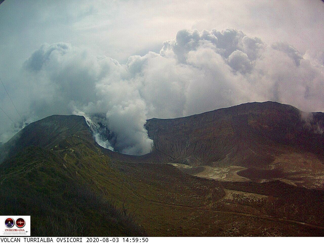 Turrialba - strong gas emissions - 08/03/2020 / 2:59 p.m. - Ovsicori webcam