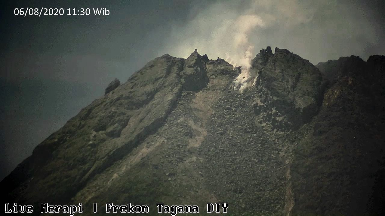 Merapi - summit and dome on 08/06/2020 / 11:30 am - iùage Volcano YT i Frekom