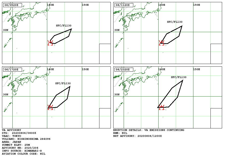 Nishinoshima - volcanis ash advisory pour le 06.08.2020 - Doc. VAAC Tokyo