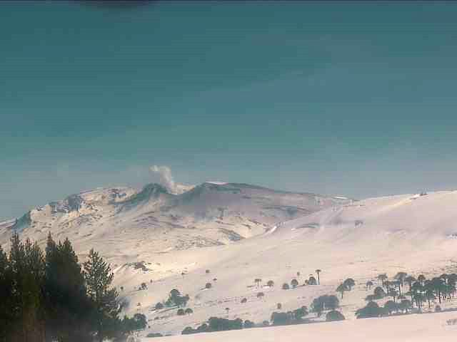 Copahue - white degassing, and traces of ash on the summit - webcam Sernageomin 07.08.2020