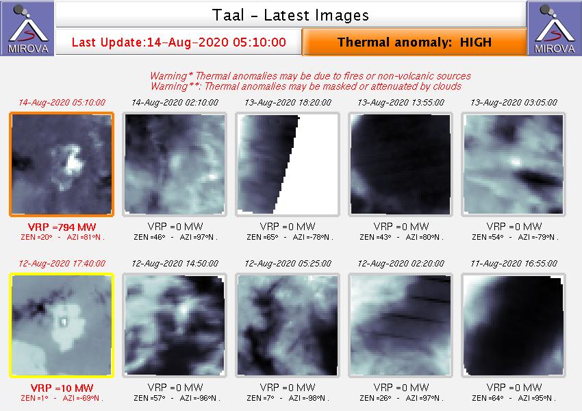 Taal - Anomalies thermiques au 14.08.2020 / 05h10 - Doc. Mirova _MODIS_Latest10NTI