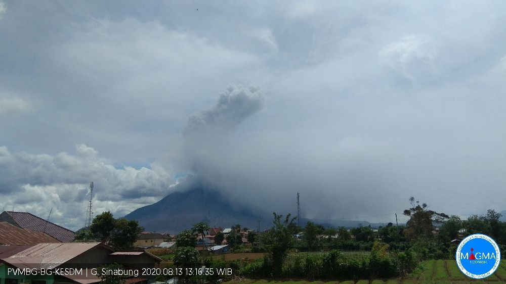 Sinabung - eruptive episode of 08/13/2020 / 1:16 p.m. WIB - photo Magma Indonesia