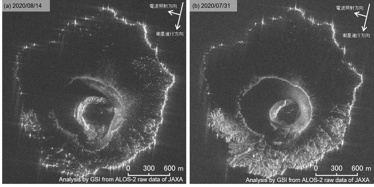 Nishinoshima - SAR intensity images from August 14, 2020 (left) and July 31, 2020 (right) - Doc. GSI - one click to enlarge